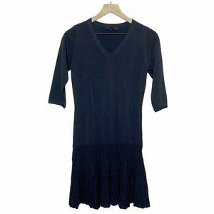 Olivaceous 3/4 Sleeve Drop Waist Flared Dress